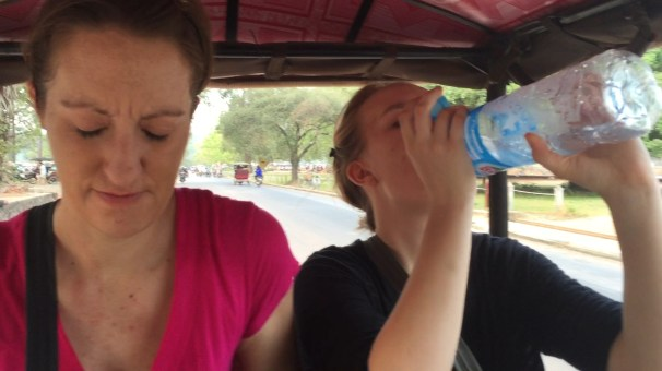 It was hot and humid in Siem Reap... we made sure to always have water when we went out. The cool air brushing our faces on the back of the tuk tuk was a nice break from the heat.