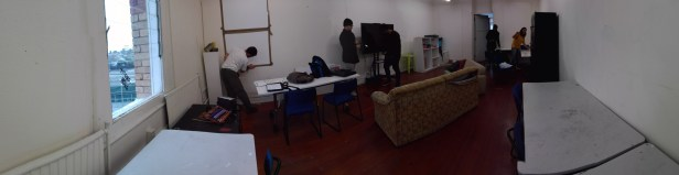 Shot of our room. Everyone setting up spaces.
