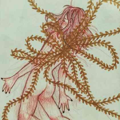 Mujer desnuda con ramas dorada saliendo de su espalda. 5 prácticas mágicas para tu camino.
