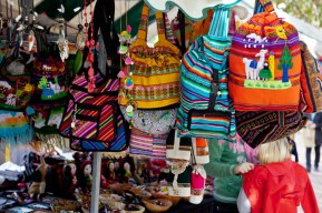 Colourful bag stall in New Street