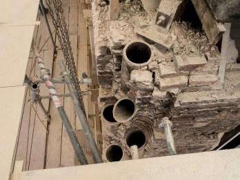 Chimneys from rooms below converging