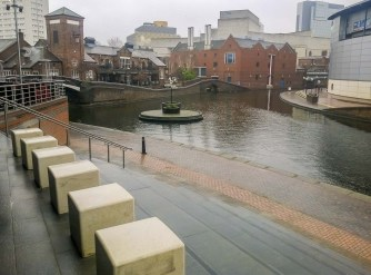 View south-east towards Symphony Hall and Brindleyplace Waterside.