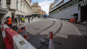 Arriving back at Corporation Street shows the completed Metro track and absence of roadworks.