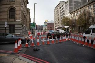Revised Margaret Street (left) junction with Great Charles Street.