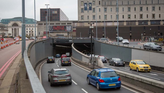 Close up of the junction from Suffoll Street west carriageway.