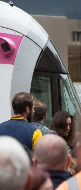 The nearest I could get to him unveiling his name plate on the front of the tram.