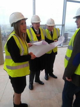 Lord Mayor of Birmingham Councillor Ray Hassall checks out the building plans with the Park Regis Birmingham Team