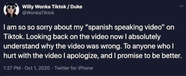 Image of Willy Wonka Apologized