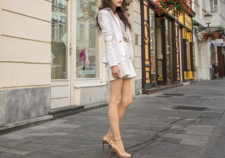 ab6de2237623 Yes You Can Get Married In White Short Suit Brunette From Wall Street