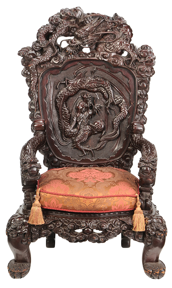 antique chinese dragon chair rocking lawn chairs brunk auctions large carved figural arm