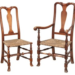 Queen Anne Style Chair Covers With Hessian Bows Brunk Auctions Two American Chairs