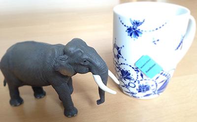 Der Elefant mit Teetasse