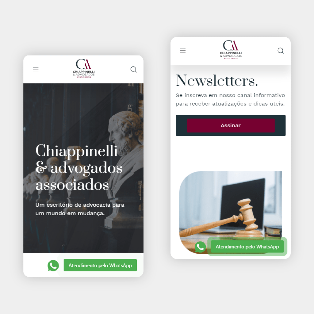 Layout mobile site chiappinelli advogados