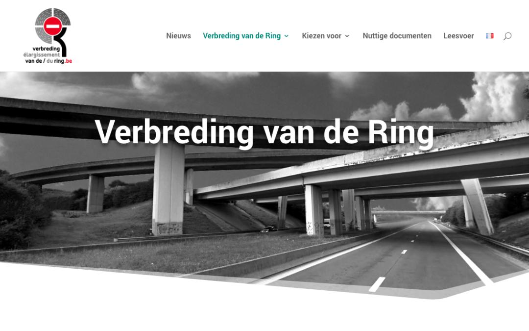 Header van de website verbredingvandering.be waarop je verschillende niveaus ziet van de Ring rond Brussel