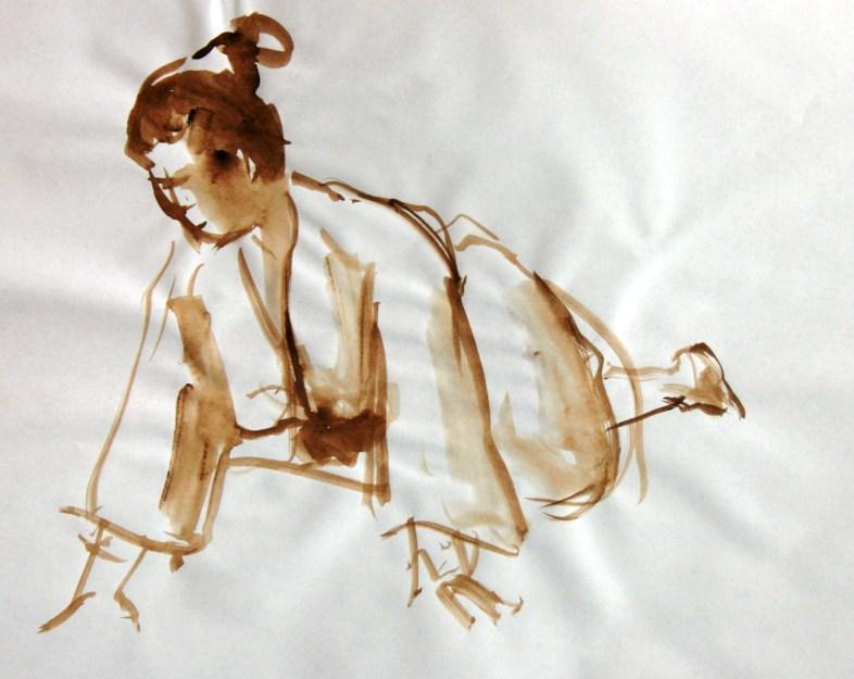 Sophie agenouillée en kimono