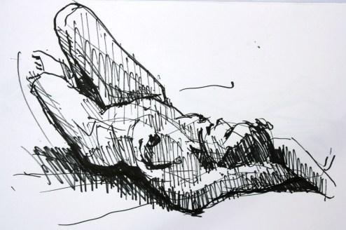 Marion allongée genoux levés bras croisés au dessus de la tête