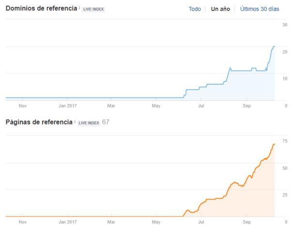 Evolución de los dominios y páginas de referencia