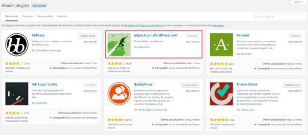 Instalar Jetpack para WordPress