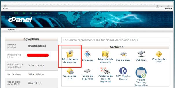 Subir el archivo desde el administrador de archivos de cPanel