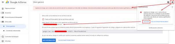 Advertencia de Adsense sobre la falta del archivo ads.txt en una de tus webs