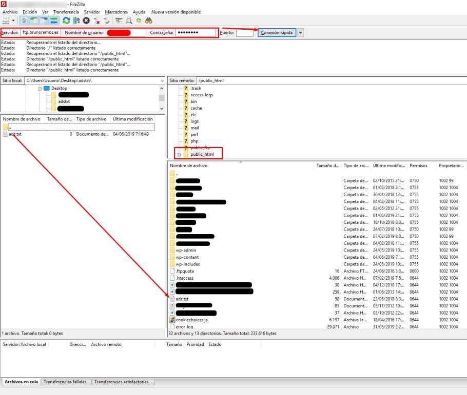 Subir el archivo ads.txt por FTP