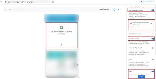 Vista previa de los anuncios automáticos por web