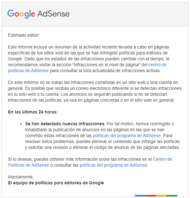 Email de aviso de infracción de políticas de Adsense