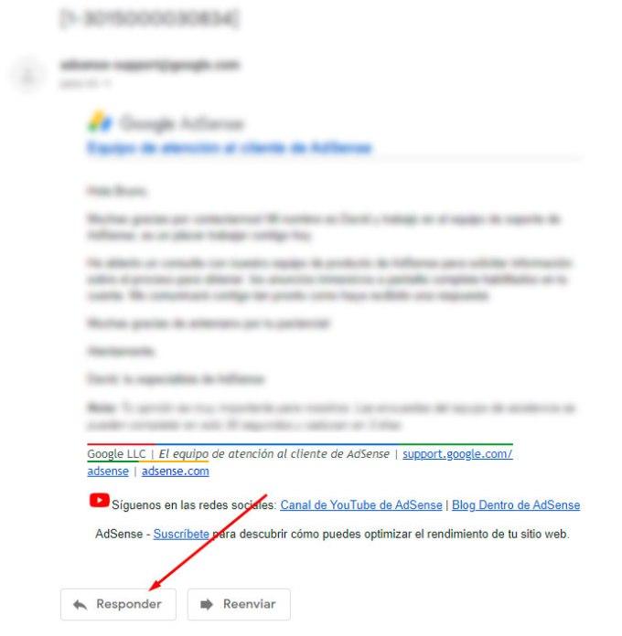 Email antiguo de contacto con soporte de Adsense