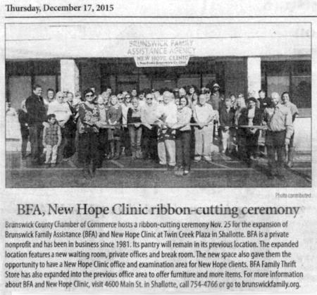 BFA, New Hope Clinic Ribbon Cutting