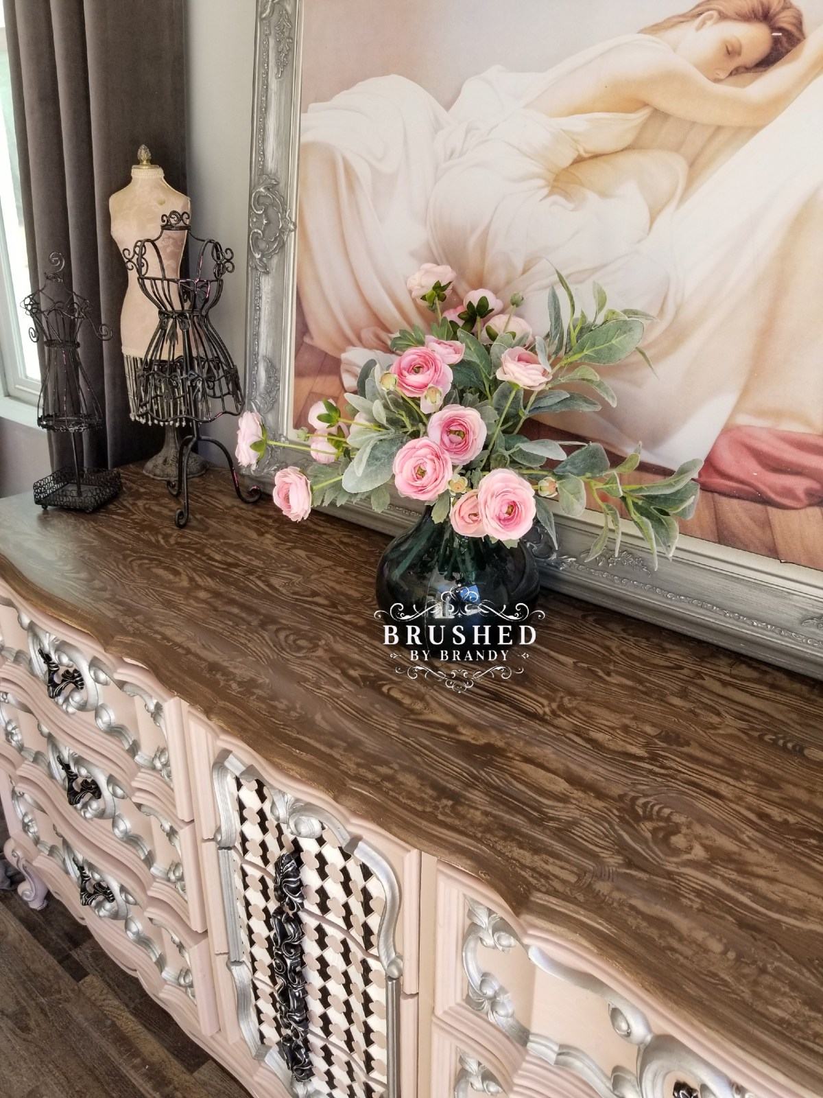 How to Create a Faux Wood Finish Pink Detailed Dresser side Brushed by Brandy