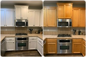 My First Kitchen Cabinet Chalk Paint Makeover before and after Brushed by Brandy