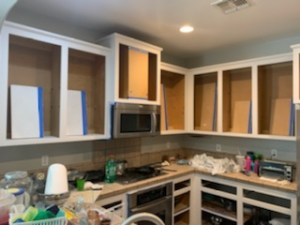 Cabinet boxes painted My First Kitchen Cabinet Chalk Paint Makeover Brushed by Brandy
