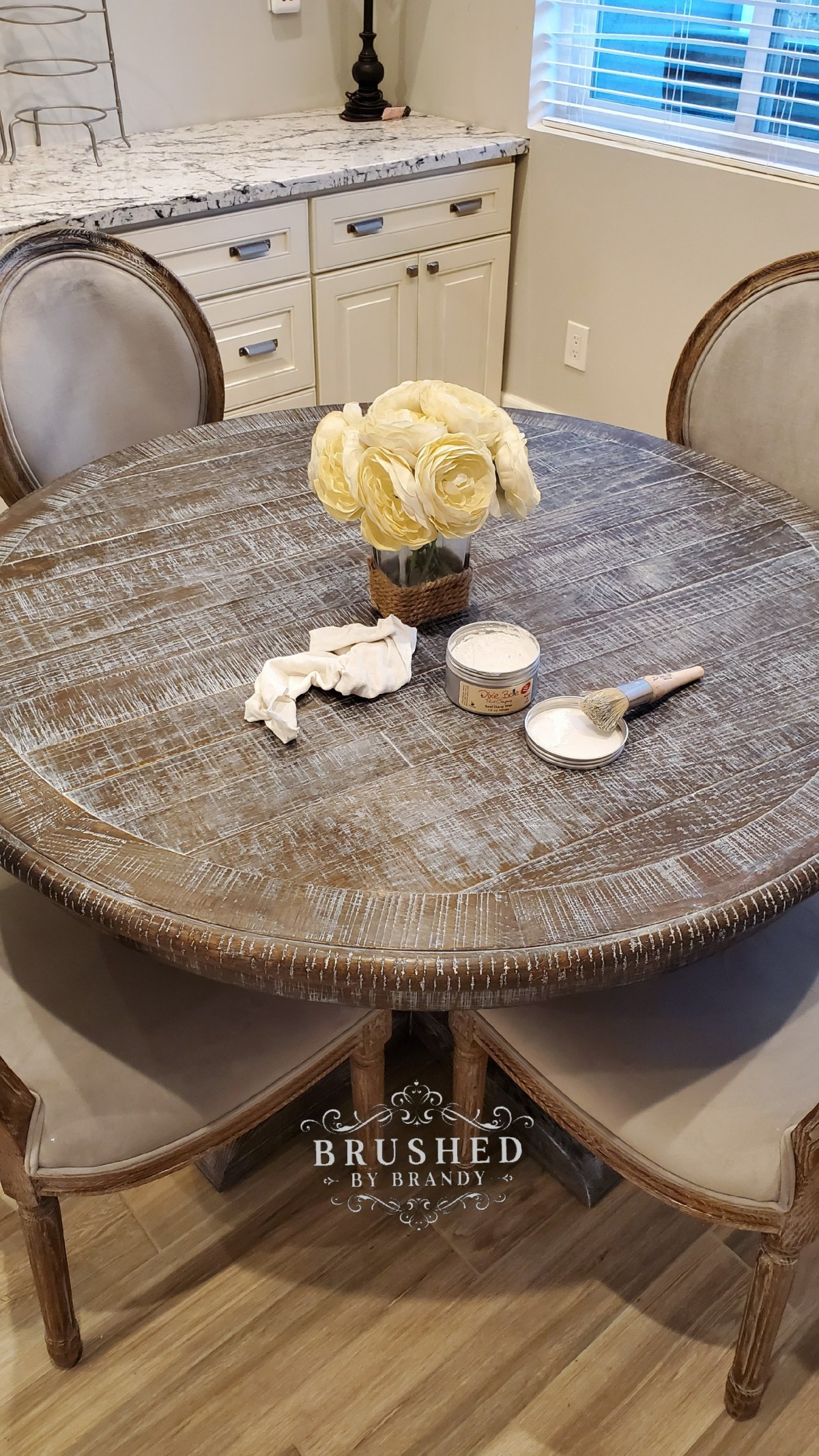 Dixie Belle Paint Projects white wax makeover on dining table