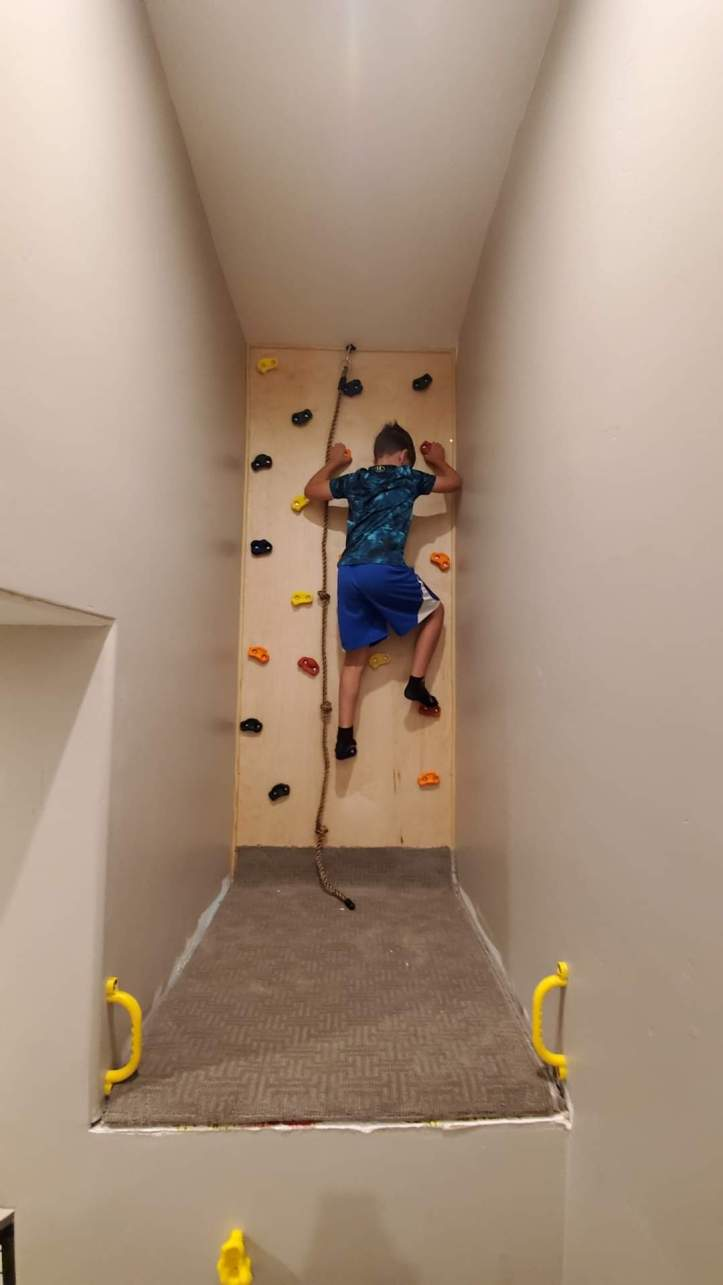 DIY indoor rock climbing wall Dixie Belle Paint Projects