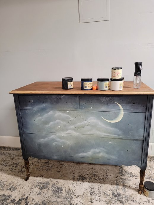 Beautiful Night Sky Dreamy Dresser Makeover Brushed by Brandy