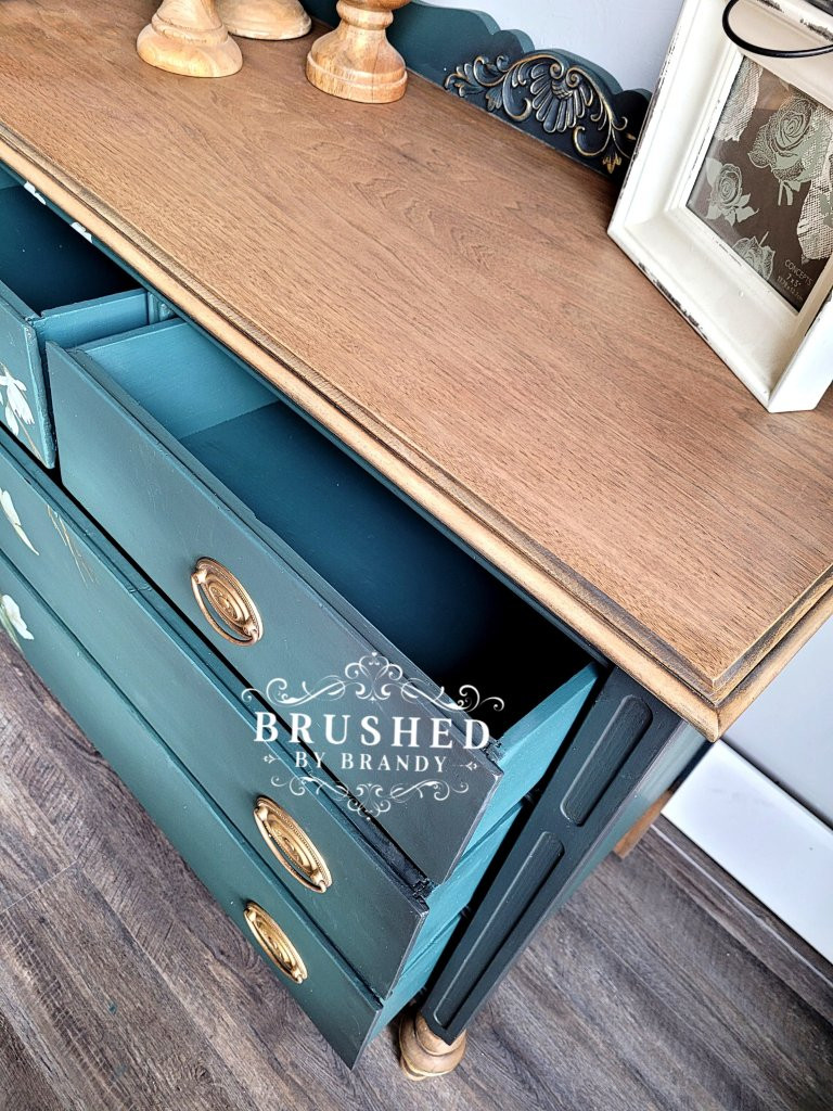Painted inside the drawers with a custom paint mix