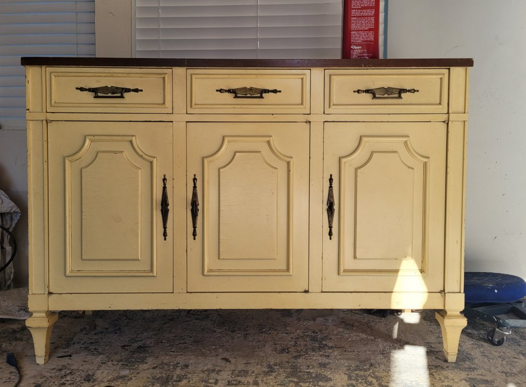 BEFORE - Faded Blue Jean Painted Cabinet Brushed by Brandy