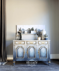 Faded Blue Jean Cabinet Brushed By Brandy Painted Furniture