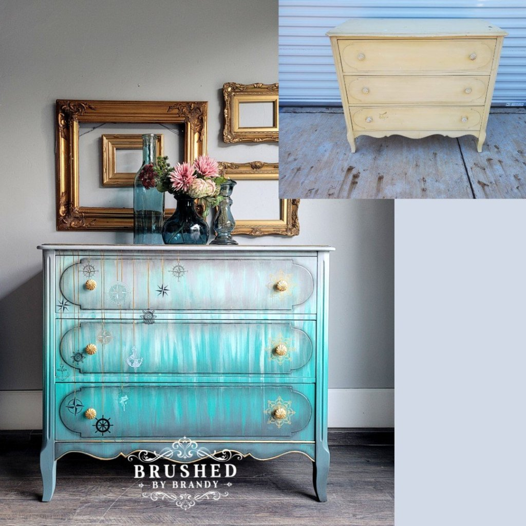 Nautical Inspired Chest with Vinegar Painting Technique Before and After