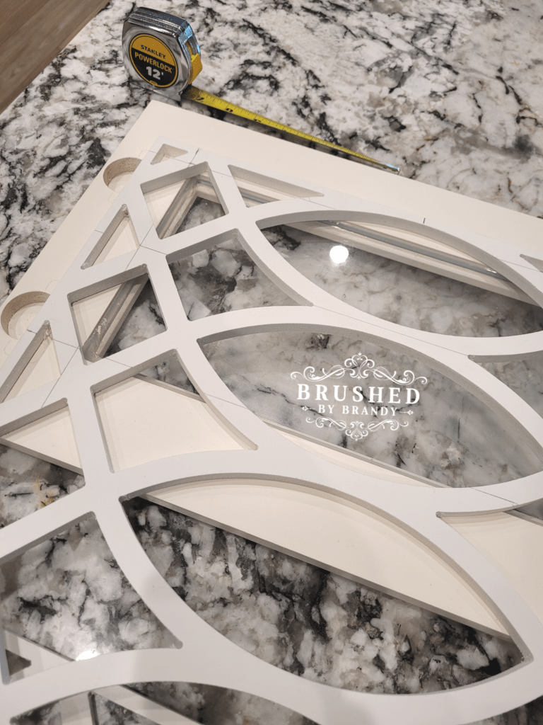Measuring PVC Fretwork for Kitchen Cabinet Upgrade Brushed by Brandy
