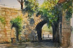 123_2016 Watercolor, Marabu Mixed Media 21,0 x 14,8 cm / 8.3 x 5.8 in - `Marburg Schloss – Tor zur Landgraf-Philipp-Straße´