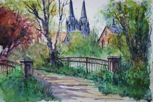 128_2016 Watercolor, Marabu Mixed Media 21,0 x 14,8 cm / 8.3 x 5.8 in - `Marburg - Im alten Botanischen Garten´