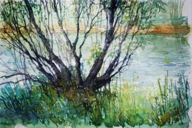 129_2016 Watercolor, Marabu Mixed Media 21,0 x 14,8 cm / 8.3 x 5.8 in - `Marburg - Morgens an der Lahn´