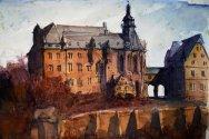 136_2016 Watercolor, Marabu Mixed Media 21,0 x 14,8 cm / 8.3 x 5.8 in - `Marburg - Landgrafenschloss I´