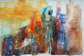 "226_2016 Watercolor-Sketches /Daler-Rowney Graduate Sketchbook, 21,0 x 14,9 cm / 8.3 x 5.8 in / Lukas Aquarell 1862 / ""Detroit"""