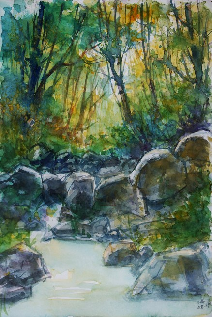 """227_2016 Watercolor-Sketches /Daler-Rowney Graduate Sketchbook, 21,0 x 14,9 cm / 8.3 x 5.8 in / Lukas Aquarell 1862 / """"Creek"""" - from a photograph by Margaret Parker Brown."""