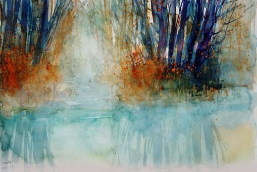 "228_2016 Watercolor-Sketches /Daler-Rowney Graduate Sketchbook, 21,0 x 14,9 cm / 8.3 x 5.8 in / Lukas Aquarell 1862 / ""Foggy River"""