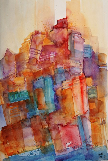 CW2016_abstract_watercolor001 / Daler-Rowney Graduate Sketchbook, 21,0 x 29,7 cm / 8.3 x 11.7 in / Lukas Aquarell 1862