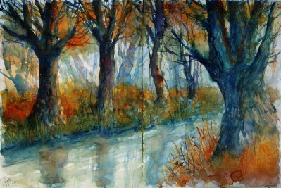238_2016 Watercolor-Sketches /Daler-Rowney Graduate Sketchbook, 2x 21,0 x 29,7 cm / 8.3 x 11.7 in / Lukas Aquarell 1862 / ´Feels like autumn coming´ - Monday-morning sketch.