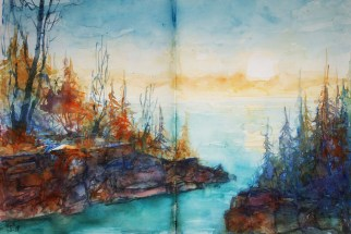 241_2016 Watercolor-Sketches /Daler-Rowney Graduate Sketchbook, 2x 21,0 x 29,7 cm / 8.3 x 11.7 in / Lukas Aquarell 1862 / ´Somewhere at the Great Lakes´